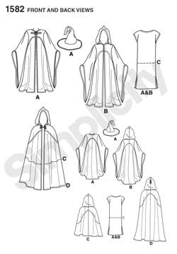 1582 Simplicity Pattern: Misses',  Men's and Teen Costumes